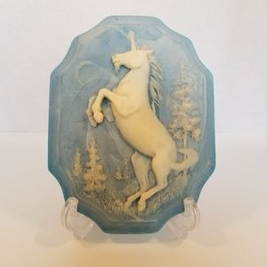 Vintage Unicorn 3D Carved Incolay Wall Plaque